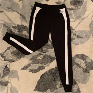 PINK White Lined Black Joggers